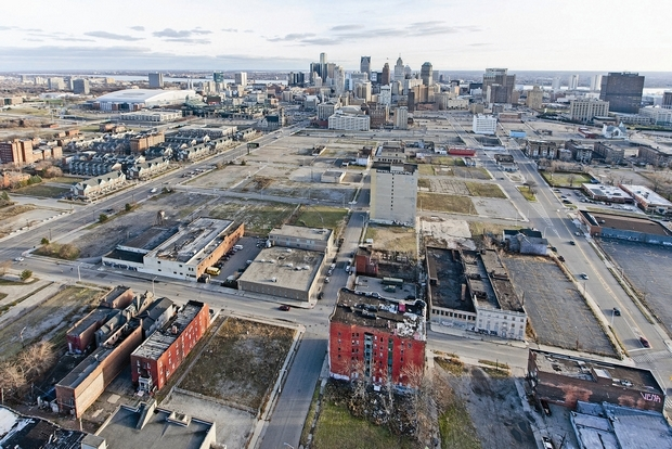 Plans call for the new Red Wings arena will be built in this largely vacant area north of downtown and bracketed by Woodward Avenue (left), Cass Avenue (right) and Temple Street (foreground).