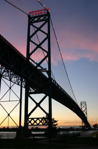 Ambassador Bridge, connecting Windsor and Detroit.